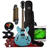 Ibanez Artcore Vibrante AS63 Semi-Hollow Electric Guitar (Mint Blue) + Clip-on Tuner, Guitar Case, Strings, Picks, Cable and Fibertique Microfiber Cleaning Cloth