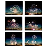 Light The Sky with Fireworks: Flashes of Light to Create Mirage of The Evening Scene Within Your Home. Set of 6 (8'x10' unframed) Poster Prints Wall Decor