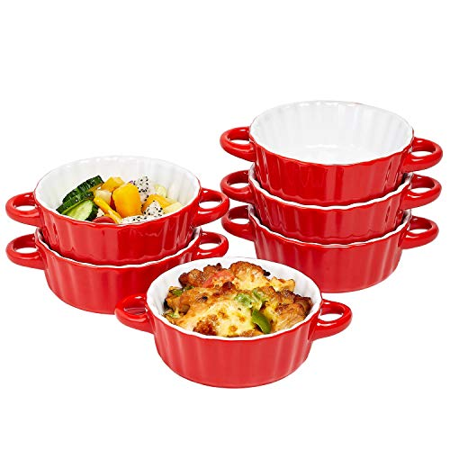 Bake And Serve - 10oz. Oven Safe Set Of 6 Ceramic Souffle Dishes, Round Double Handle Ramekins Baking Mini Pie Dish w/Handles For Pudding, Creme Brulee, Souffle, Red