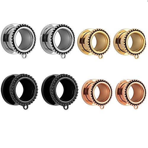 Casvort 8 PCS Stainless Steel Ear Piercing Stretcher Ear Tunnel Plug Fashion Dangle Ear Gauges Helix Piercing Jewelry 4 Pairs with One Pair per Color 1/2 inch for Ears (12mm)