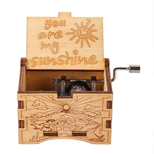 MUSIKID Caja de música de manivela de madera, caja de música, caja de música, caja de música de madera, caja de música grabada, caja musical de manivela de mano, regalo de San Valentín (3)
