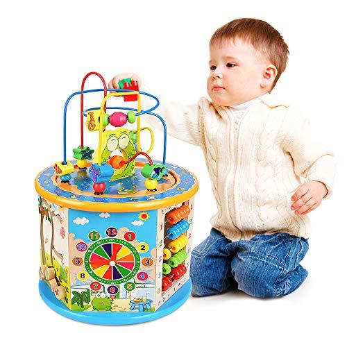 Ulmisfee Cube d'activité en Bois 8 en 1 Jeu d'éveil Premier âge 1 an Jouets Labyrinthe de Perles Jouet Éducatif Cadeaux pour Enfants