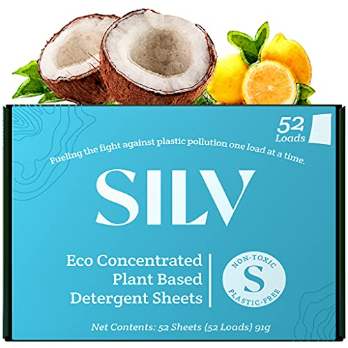 SILV Hypoallergenic Laundry Detergent Sheets Eco Friendly - Nontoxic & Plastic Free - Plant Based Soap - Easy for Travel & Camping - For Sensitive Skin - 52 Loads