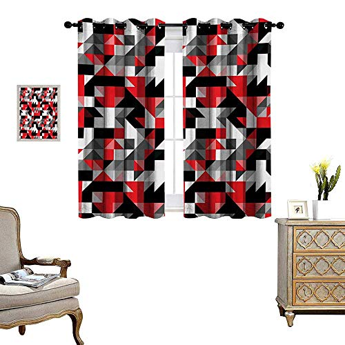 Red and Black Window Curtain Drape Abstract Geometric Half Triangles Squares Maze Inspired Image Decorative Curtains for Living Room W55 x L63 Charcoal Grey and White