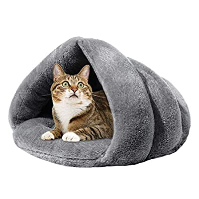 a grey cat tent, lax in form but very comfy and soft