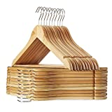 STAR WORK Multi Functional Solid Wooden Natural Finish Suit Coat Hangers with 2