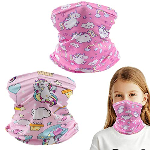 2 Pack Kids Summer Protection Face Cover Neck Gaiter, Bandana Balaclava Mask Half Face for Girls Boys Children Gift, Reusable Breathable Washable Infinity Scarf for Hiking Travel Fishing Unicorn
