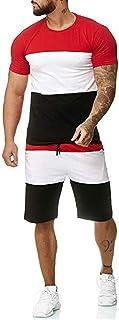 Men's Summer Sports Suit Track Suits for Men Set 2 Piece Patchwork Sweatsuits