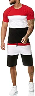 Sport Set for Men, Limsea 2 Piece Outfit Casual Tracksuit Short Sleeve T-Shirts and Shorts Summer Activewear