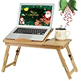 100% Natural Bamboo Foldable Laptop Desk, Portable Bed Table with USB Cooling Fan and Storage Drawer, for Bed and Sofa, Work, Writing, Games