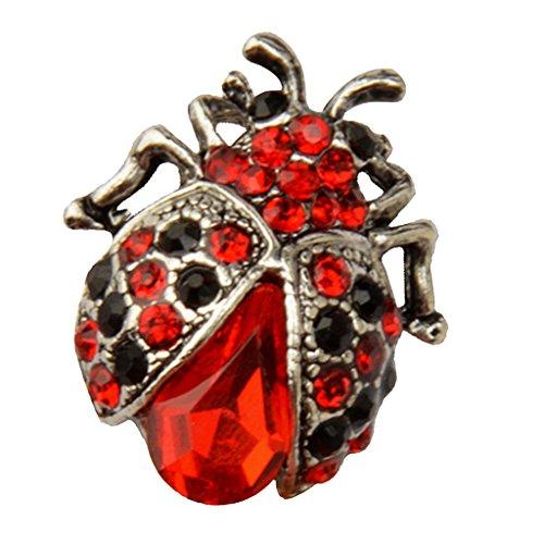 Harilla Vintage Ladybird Broche Pin Accesorios de Cristal Pequeño Rojo Nupcial