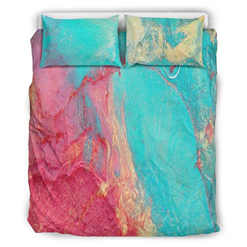 Butterfly Goods Magic Marbling - Juego de cama (3 piezas, 1 funda nórdica y 2 fundas de almohada, lavable a máquina, 168 x 229 cm), color blanco