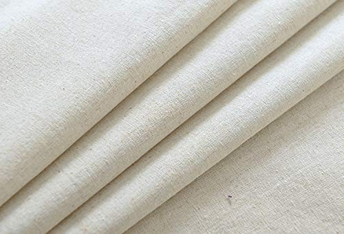 ONECHANCE Tela de lino original de lino por The Meter color sólido mantel material de bricolaje Color Blanco Size 1 metro