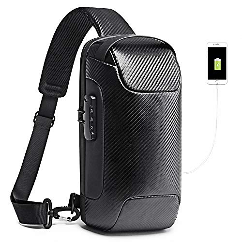 BANGE Anti theft Sling Chest Bag Waterproof Shoulder Crossbody Backpack with USB Charging Port Casual Daypack