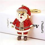 Santa Claus Fashion Crystal Rhinestone Pendant Charm Purse Bag Key Chain Christmas Gift (#1)