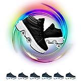 TAOXUE Zapatos De Patinaje para Mujer Retráctiles Patines de Ruedas con Luces LED En 7 Colores Doble Propósito Multifuncional Zapatos De Parkour