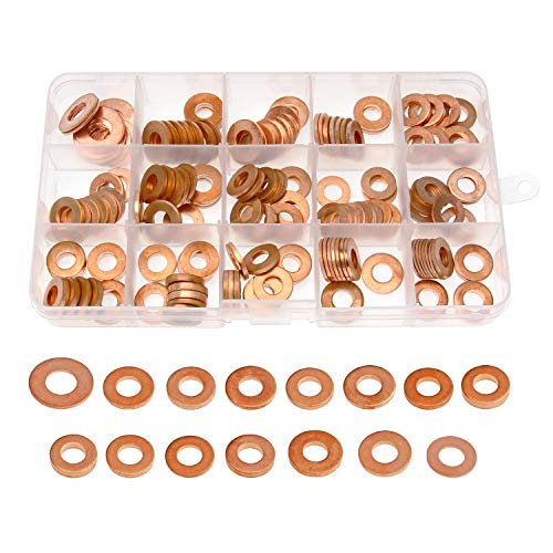 Thick Copper Washer, 150 Pieces Metric Copper Sealing Washers Flat Washers Assortment Kit