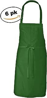 Elaine Karen Adult Men's Women's Unisex Chefs Adjustable Extra Long Ties, Professional Commercial Grade Bib Apron 6PK - Green