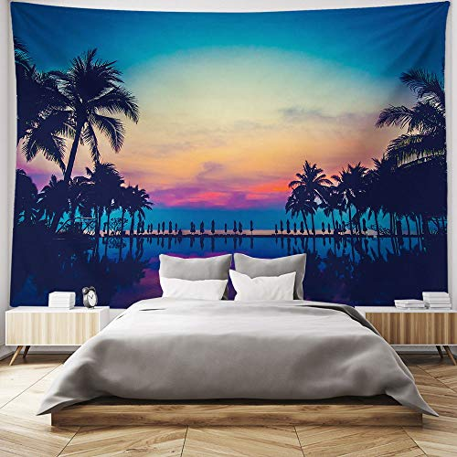 HIYOO Home Nature Art Wall Hanging Fabric Tapestry, Tropical Coast Palms Trees Island Theme, Decor For Dorm Room, Bedroom,Living Room, Party Background - Sunset Glow 90'W x 60'L