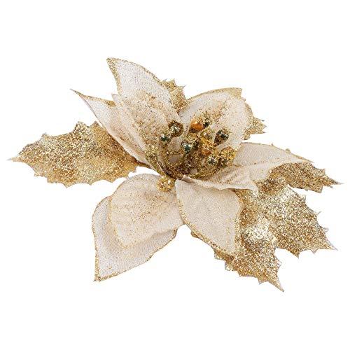 BESPORTBLE 12pcs Christmas Poinsettia Flowers Artificial Glitter Christmas Tree Ornaments (Golden)