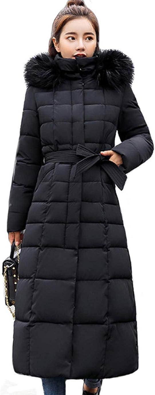 chouyatou Women's Warm Belted Maxi Padded Coat Winter Ranking TOP6 Ranking TOP20 Remov Long