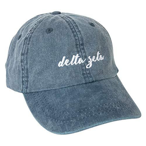 Delta Zeta (N) Sorority Baseball Hat Cap Cursive Name Font dz (Midnight Blue)