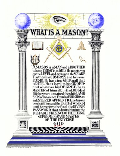 Antique Masonic Print'What is a Mason' poem Master Mason Freemasonry reproduction