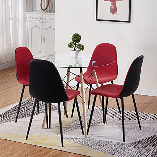 GOLDFAN Dining Table and Chair Set 4 Modern Round Tempered Glass Kitchen Table and Fabric Chairs with Solid Wood Legs Dining Room Set, Red
