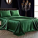 SiinvdaBZX 4Pcs Satin Sheet Set Queen Size Ultra Silky Soft Emerald Green Satin Queen Bed Sheets with Deep Pocket, 1 Fitted Sheet, 1 Flat Sheet, 2 Envelope Closure Pillowcases