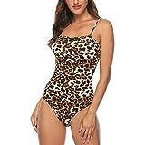 SALUCIA Damen Sexy Leopardenmuster Spaghettiträger Bustier Body Club Party Ärmellos Bodysuit Oberteile Shirt Bluse Bodys Tops (Gelb, S)