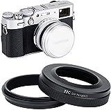 JJC Parasol de Objetivo con Anillo Adaptador para cámaras Fujifilm Fuji X100V X100 X100S X100T X100F, sustituye Fujifilm LH-X100 & AR-X100, Compatible con filtros de 49mm y Tapa de Lente Original