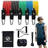 Vigor Fitness Resistance Bands Set of 11-150lbs, Outdoor/Indoor Exercise Workout Equipment for Body Strength, Gym, Yoga & Home Fitness, 2 Angle Straps, 2 Handles, Door Anchor, for Men & Women.