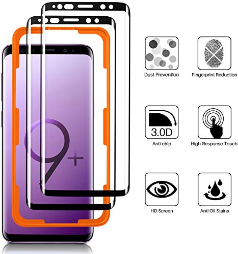 Luibor für Samsung Galaxy S9 Plus Panzerglas(2 Stücke),Anti-Öl Anti-Bläschen Transparenz Gehärtetem Glas Displayfolie Schutzfolie für Samsung Galaxy S9 Plus