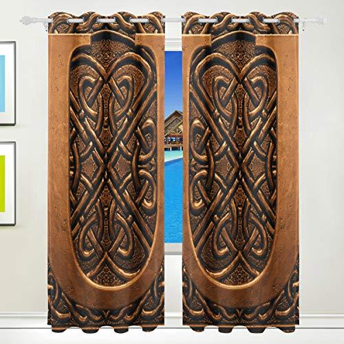 Ahomy Vintage 3D Letter U Polyester Vorhänge Verdunkelungsvorhang Home Decor für Terrasse Fenster Schiebetür Glas Tür 213,3 x 139,7 cm 2 Paneele Set