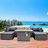 Patio Furniture Outdoor Sectional Sofa Sets with Propane fire Pit 7 Pieces Grey Wicker Conversation Sets with fire Pit Table PE Rattan Patio sectional with UV Proof Cushions (A Grey-7PCS+fire Pit)