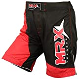 MRX MMA Shorts for Men Cage Fight Training Gear Muay Thai Kickboxing Grappling Short Boxing Trunk Active Wear (BLK/RED - Large)