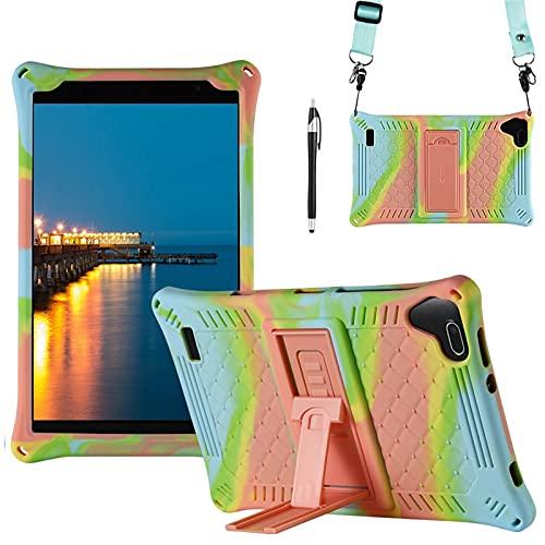 KATUMO Funda Universal Tablet 8 Pulgadas Carcasa Compatible con Samsung Galaxy Tab A 8.0 2019 (SM-T290 / T295 / T297), Teclast P80X/P80H, Funda Silicona Tablet Protectora,Azul Claro & Naranja