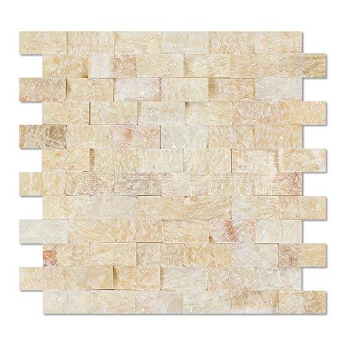 Honey Onyx 1 X 2 Brick Mosaic Tile, Split-Faced