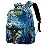 Sac à dos pour Halloween, carte d'invitation, motif tête de mort, faucille, faucille, fantôme, sac d'école, sac à dos de voyage décontracté pour femmes, adolescentes, garçons