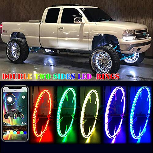 Forten Kingdom New Double Sides LEDs Wheel Ring Light 17inch Car Truck RGB Bluetooth Control