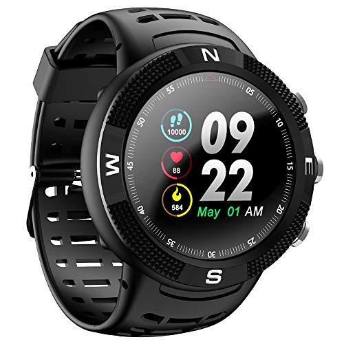 PADY-Wearable Technology NO.1 F18 Smartwatch Sports Bluetooth 4.2 IP68 Waterproof Call/Message Reminder Pedometer Sleep Monitoring (Black)