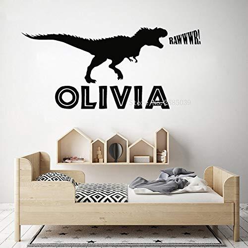 mlpnko Personalisierte Dinosaurier Name Wandaufkleber Kinderzimmer Großes Märchen Tier Drache Dinosaurier Wandtattoo Schlafzimmer Vinyl Home Decor , 110x50cm