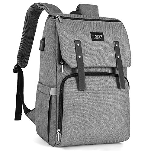 MOSISO Diaper Bag Backpack, Multifunction Flap Over Travel Back Pack with Stroller Straps/USB Charging Port Large Capacity Lightweight Stylish Nappy Maternity Nursing Baby Changing Bags, Gray