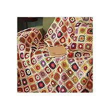 MIGUOR Manta de ganchillo hecha a mano con hilo de ganchillo, estilo campestre, para aire acondicionado, manta de cama, 59 x 39 pulgadas (59 x 39 pulgadas)