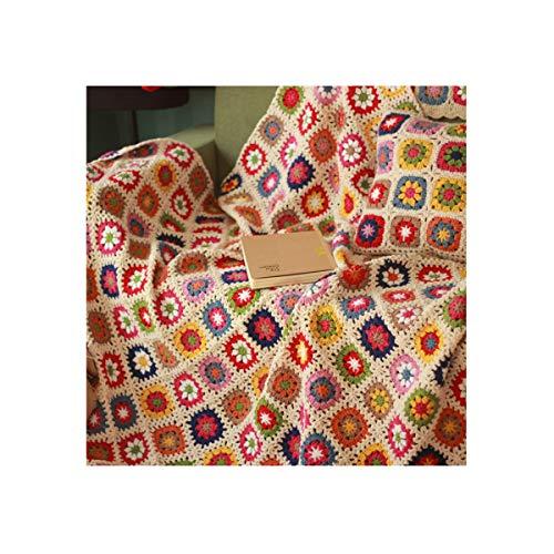MIGUOR Manta de ganchillo hecha a mano con ganchillo, estilo campiña, para cama tapiz, 59 x 39 pulgadas (59 x 39 pulgadas)