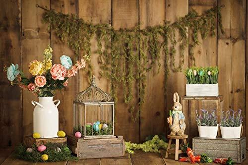 Fondos de Pascua para fotografía Flores Conejo Huevos Cubo Piso Gris Fiesta de bebé Photozone Fondo fotográfico Estudio fotográfico A18 9x6ft / 2.7x1.8m