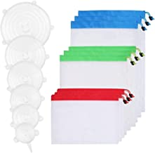 Silicone Stretch Lids (6 Pieces in Various Sizes) with Reusable Mesh Produce Bags - The Ultra Food/Fruit Vegetable Storage Set by Handy Picks