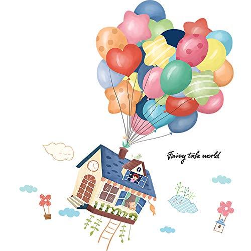 DWWSP Haus Dekoration Bunte Ballone Wand-Aufkleber DIY Karikatur-Haus-Tiere Wandaufkleber for Kinder Zimmer Baby-Schlafzimmer-Dekoration (Color : House Sticker)