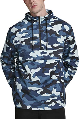 Urban Classics Herren Camo Pull Over Windbreaker Jacke, Blue, M