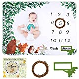 Baby Monthly Milestone Blanket, Unisex Woodland Monthly Blanket and Milestone Stickers for Newborn Baby Shower, Unisex Baby Growth Chart Monthly Blanket for Boy and Girl,